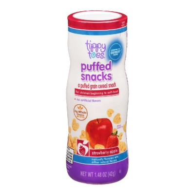 Tippy Toes Puffed Snack Strawberry-Apple 1.48 oz