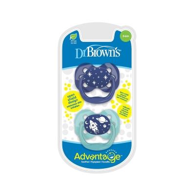 Dr Brown's Set 2 Chupetes Advantage Space Azul
