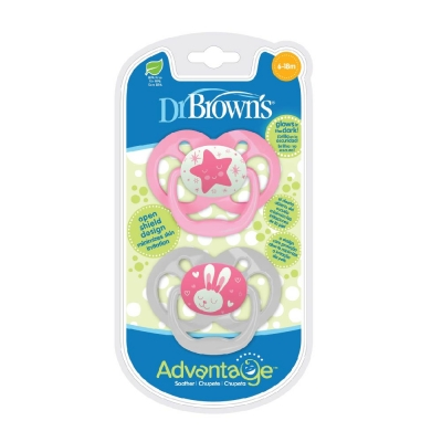 Dr Brown's Set 2 Chupetes Advantage Rosa