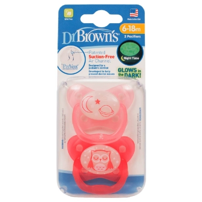 Dr Brown's Chupete Glow in the Dark Rosa