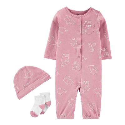 Carter's Pijama Set 3 Pzas Rosada