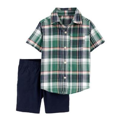 Carter's Conjunto Pantalón Corto y Camisa a Cuadros